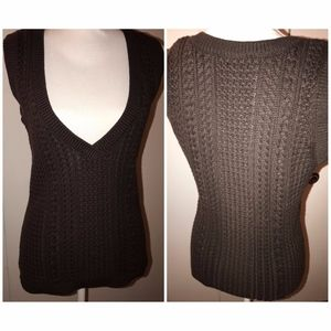 Knit Brown Sleeveless Top